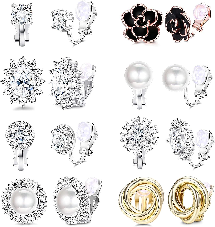 Udalyn 8 Pairs Clip Earrings for Women Fashion Rose Flower CZ Pearl Twist Knot Hypoallergenic Non Pierced Clip On Earrings Wedding Sets