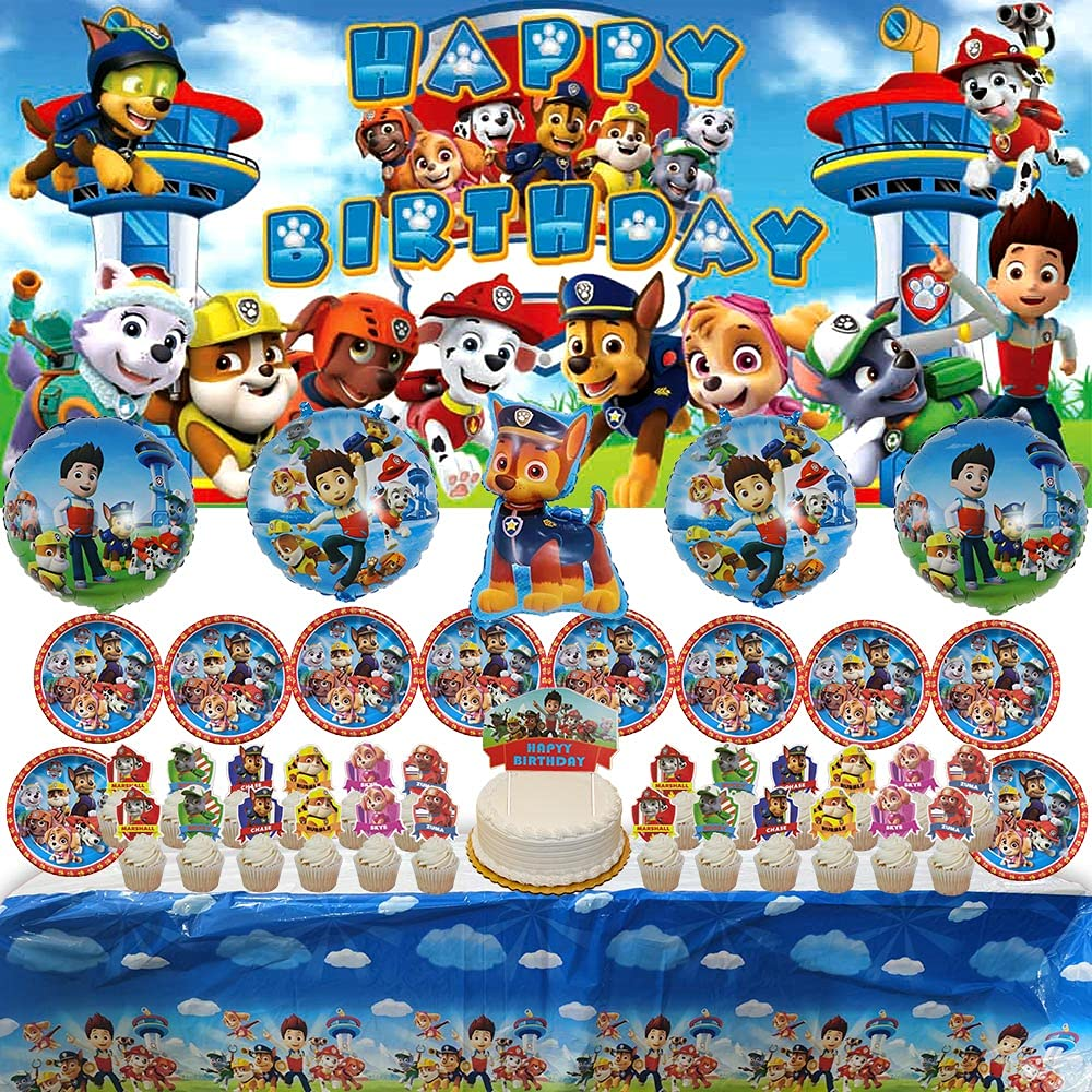 Paw Patrol Party Supplies | Plates | For Boys | Decorations | Favors | Balloons | Banner | Backdrop | Birthday | Set | Decor