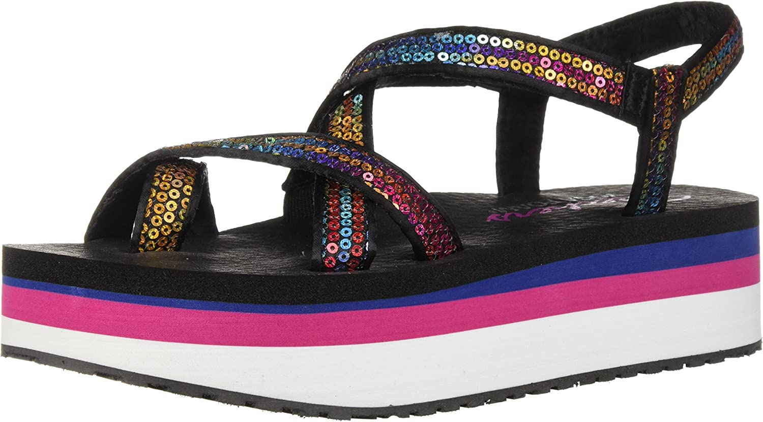 Skechers Womens Whip It - Fest - Sequined Toe-Loop Platform Sandal