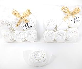 Serviettes de table Rose en blanc, set de 12, décoration de table, cadeaux, souvenirs pour Mariage, féte des méres.