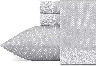 Betsey Johnson Lace Dot Sheet Set, King, Medium Grey