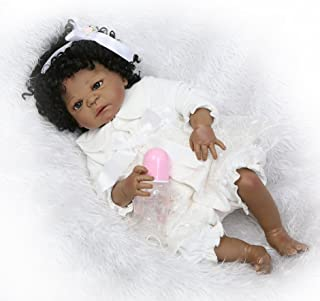 PURSUEBABY Washable Full Body Hard Vinyl Lifelike Black African American Baby Girl Doll Aubrey, 22 Inch Poseable Realistic Newborn Baby Doll Anatomically Correct with Pacifier