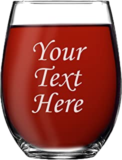 Personalized 15oz Stemless Wine Glass - Engraved With Your Custom Text