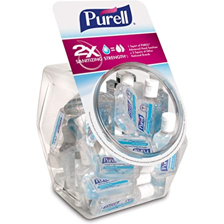 PURELL Advanced Hand Sanitizer Refreshing Gel, Clean Scent, 1 Fl Oz Travel Size Flip-Cap Bottle with Display Bowl (Pack of 36) – 3901-36-BWL