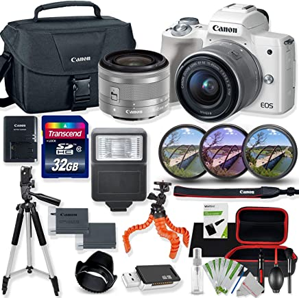 $679 Get Canon EOS M50 Mirrorless Digital Camera (White) with 15-45mm STM Lens Kit with Premium Accessory Bundle