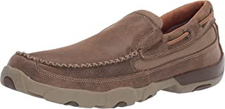 Twisted X Men's Slip-On Leather Driving Mocs, Cowhide Moccasins for Men