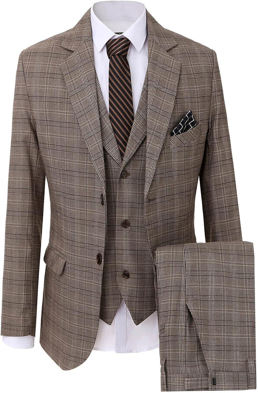 Men's Leisure Lattice Two Buttons 3-Piece Suit Blazer Jacket Tux Vest & Trousers
