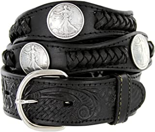 Walking Liberty Memorial Coin Concho Western Embossed Leather Belt