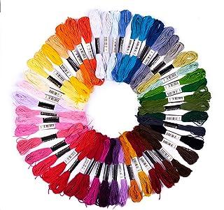 pajoma Stickgarn Set 74-teilig Multifarben aus Polyester perfekt für Freundschaftsbänder, Stickerei, Kreuzstich, Accessoires