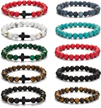 Vegolita 10Pcs 8MM Beaded Bracelets for Men Women Diffuser Bracelets Cross Bracelets Natural Stone Elastic Adjustable
