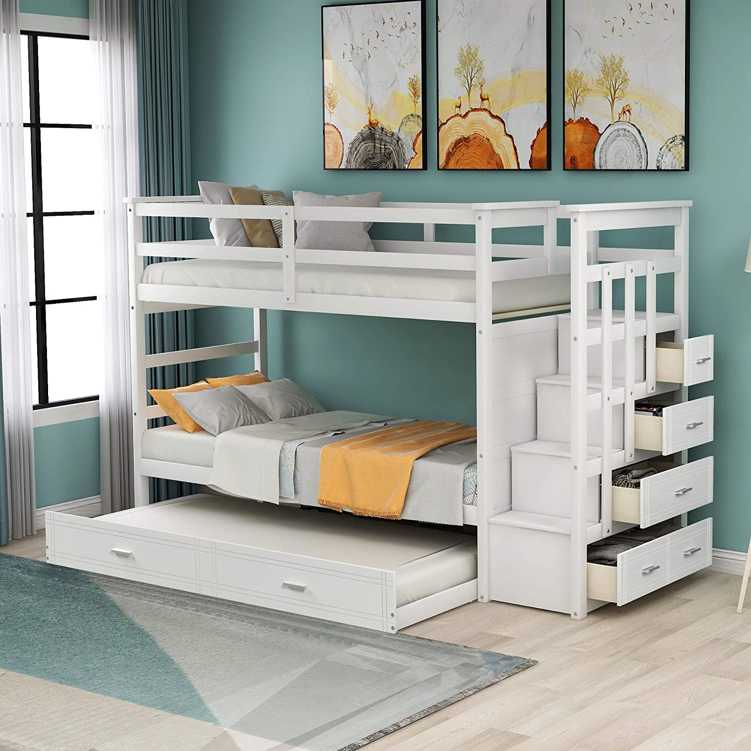 AUTOKOLA Home Twin Over Bunk Weekly update Staircase Trundle Spring new work and Bed with