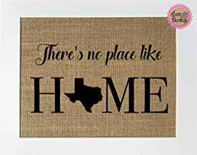 8x10 UNFRAMED There's No Place Like Home TEXAS/State Map Outline Sign/Burlap Print Sign/State Outline Home Sweet Home State Decor Rustic Shabby Chic Home Decor Handmade