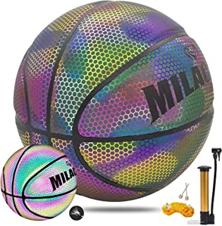 MILACHIC Holographic Reflective Glowing Basketball, Indoor-Outdoor Street Light up Basket Ball with Pump Official Size 7 29.5 inches, Glow Basketball Gifts for Boys, Girls, Men, Women