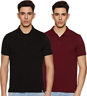 Amazon Brand - Symbol Men's Solid Regular Fit Half Sleeve Polo (Combo Pack of 2)