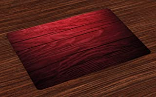 Lunarable Maroon Place Mats Set of 4, Wooden Planks Timber Board Tree Texture Image Rustic Country Life Theme, Washable Fabric Placemats for Dining Room Kitchen Table Decor, Maroon Black
