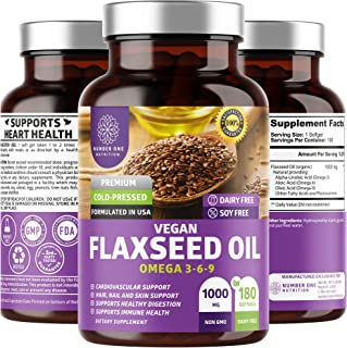 N1N Premium Vegan Flaxseed Oil Softgels [Max Strength] All Natural with Omega 3-6-9 to Boost Body's Natural Defenses, Supp...