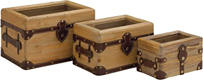Plutus Brands Wood Glass Leather Box (Set of 3)