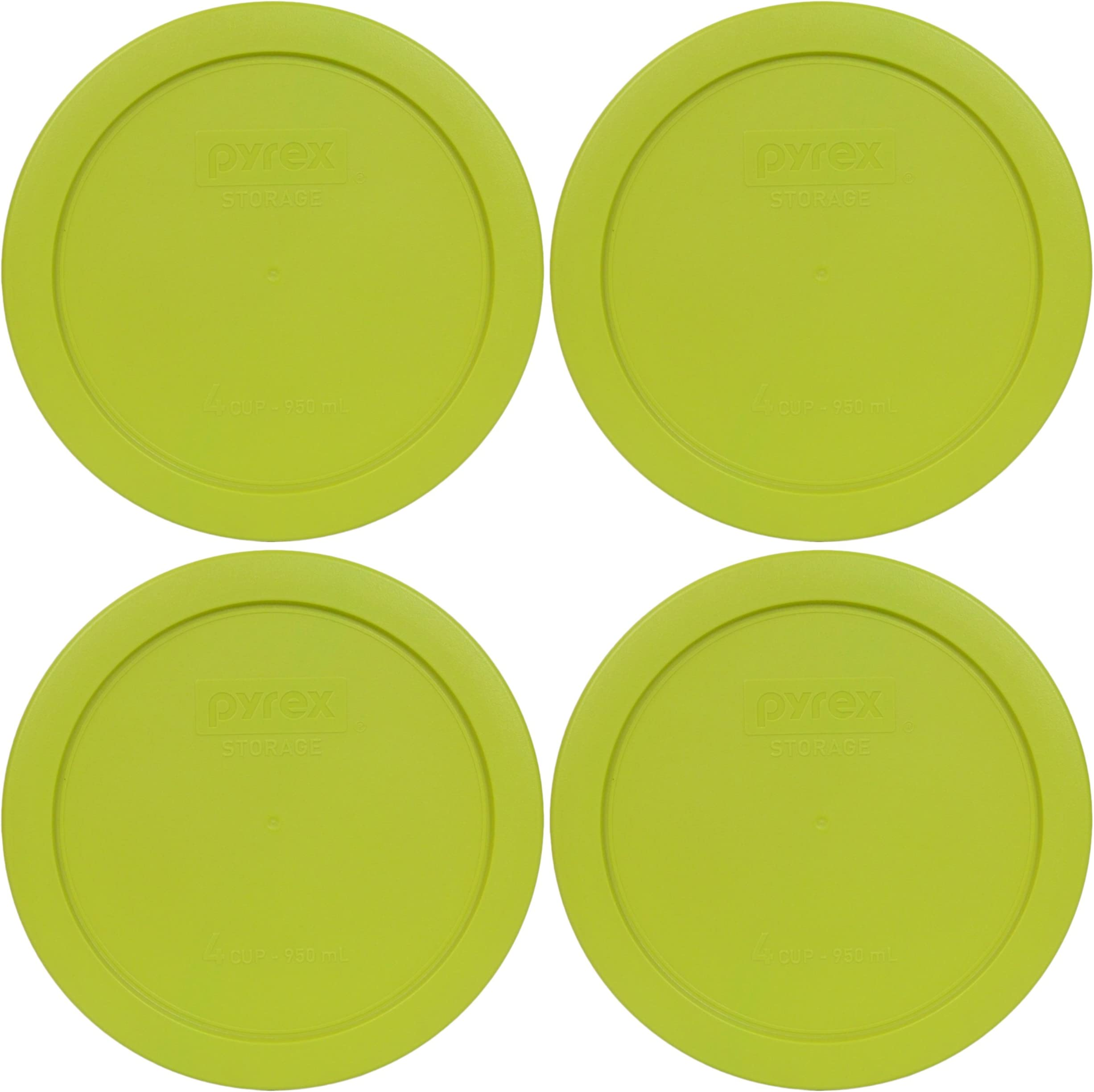 2-Butter Yellow, 2-Pumpkin Orange, 2-Edamame Green Pyrex 7201-PC Round 4 Cup Storage Container Lids for Glass Bowls
