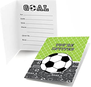 Big Dot of Happiness Goaaal - Soccer - Fill-in Baby Shower or Birthday Party Invitations (8 Count)