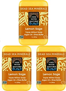 Sponsored Ad - One With Nature Dead Sea Minerals Lemon Sage Soap 3 Pack with Argan Oil, Shea Butter