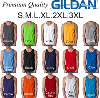 Gildan Blank Plain Tank Top Singlet S-3XL Small Big Men's Cotton Premium Quality Navy Blue L