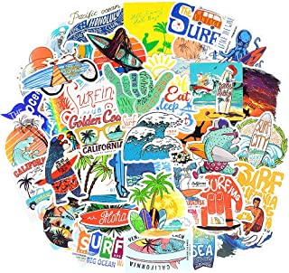 Waterproof Aesthetic Vinyl Stickers Pack for Surfboard Water Bottle (50 Pcs Surfing Style)