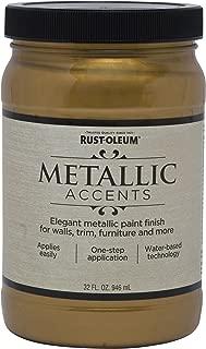 Rust-Oleum 253607 Metallic Accents Paint, Quart, Gold Mine