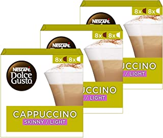 Nescafé Dolce Gusto Cappuccino light, Lot de 3, 3 x 16 Capsules (24 portions)