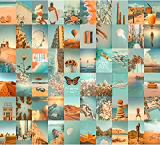 Wall Collage Kit 60 PICS Aesthetic Pictures by Aesthetic Atmosphere, 4×6 inch Teal Blue Photo, Bedroom Decor for Teen Girl...