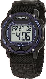 Armitron Sport Unisex 45/7004BLU Navy Blue Accented Digital Chronograph Black Nylon Strap Watch