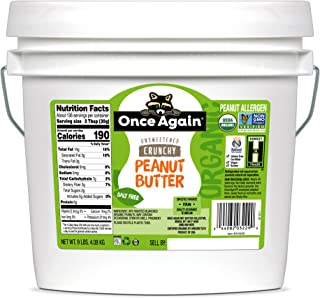 Once Again Organic Crunchy Peanut Butter, 9lbs - Salt Free, Unsweetened - USDA Organic, Gluten Free Certified, Vegan, Kosher