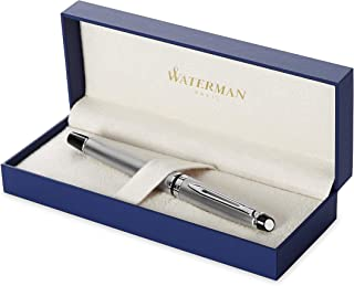Waterman Expert Fountain Pen, Stainless Steel with Chrome Trim, Fine Nib with Blue Ink Cartridge, Gift Box
