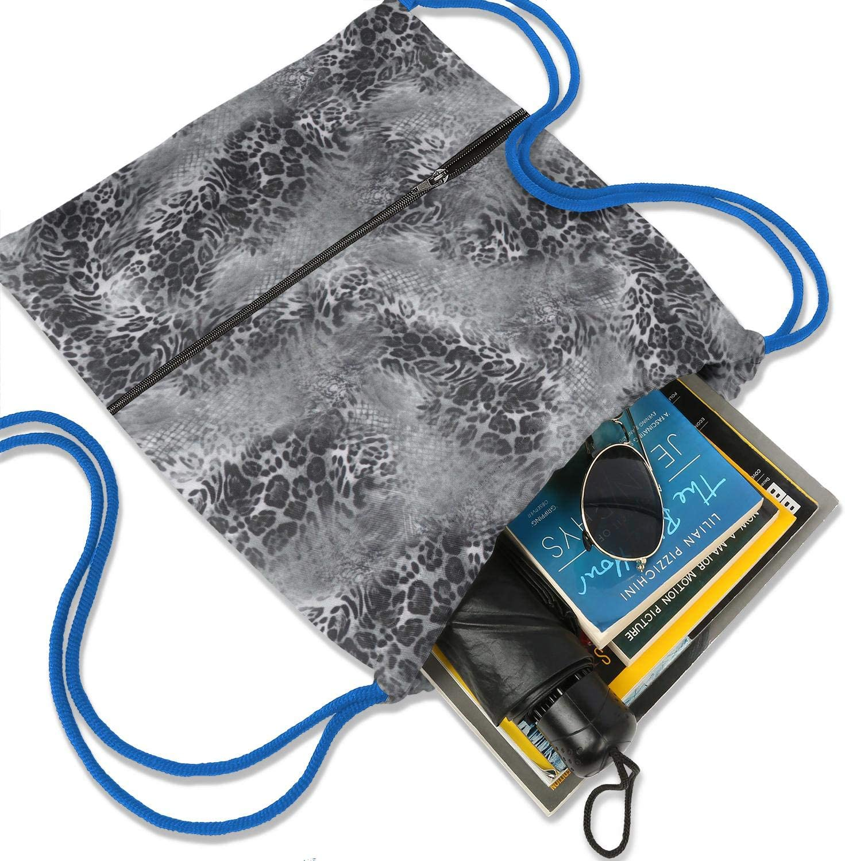 LHSCVJSEKL Drawstring Bags for Women Leopard Cheetah Print Dark Brown Gym Sackpack for Hiking Yoga Gym Swimming Travel Beach