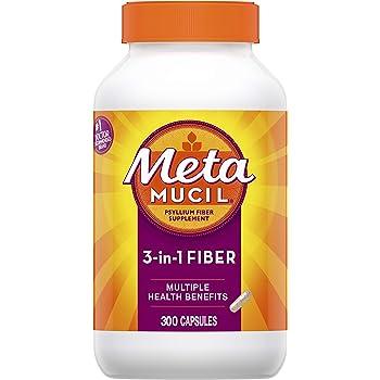 Metamucil Fiber, 300 Count, 3-in-1 Psyllium Husk Capsules Supplement, Natural Digestive Health