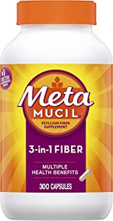 Metamucil Fiber, 300 Count, 3-in-1 Psyllium Husk Capsules Supplement, Natural Digestive Health