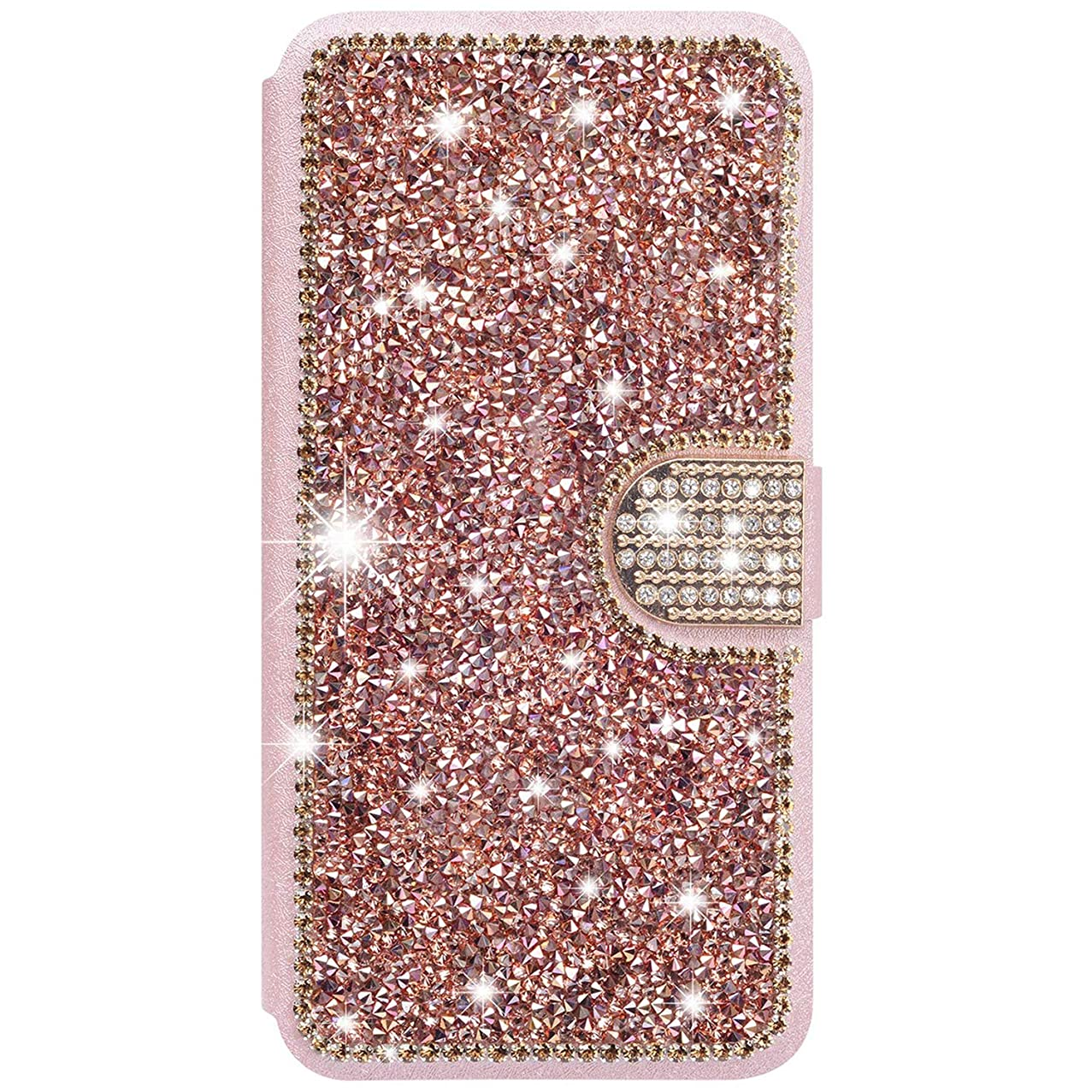 iPhone Xs Max Wallet Case,WATACHE Glitter Bling Diamond Folding Stand Folio Flip Protective Premium Leather Case with Card Holder + Magnetic Clasp Closure for Apple iPhone Xs Max-Shiny Rose Gold