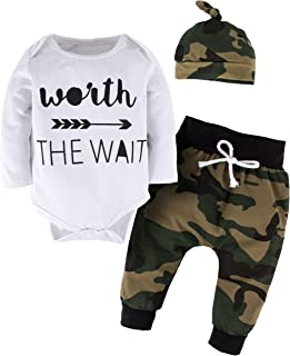 YIJIUJIU Toddler Boys 3 Piece Romper Outfits Baby Girl Clothes Letter Arrow Bodysuit +Camouflage Army Designer Pants Set
