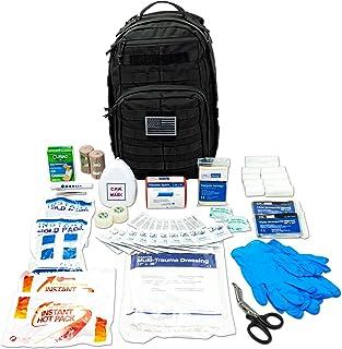 LINE2design Complete Molle Bag Kit - EMS Emergency Fully Stocked First Aid Trauma کوله پشتی کوله پشتی - نجات ایمنی پیشرفته لوازم پزشکی در فضای باز - اولین پاسخ دهنده کامل برای بلایای طبیعی - سیاه