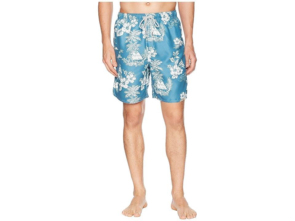 True Grit Waterman Outrigger Drawstring Swim Boardshorts w/ Mesh Lining (Blue) Men