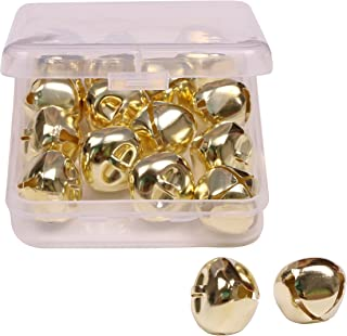 Shapenty 1 Inch/25mm Gold Metal Jumbo Christmas Jingle Bells for Wedding Xmas Tree Decoration Craft DIY Beads Jewelry Findings Charms (Gold, 16PCS/Box)