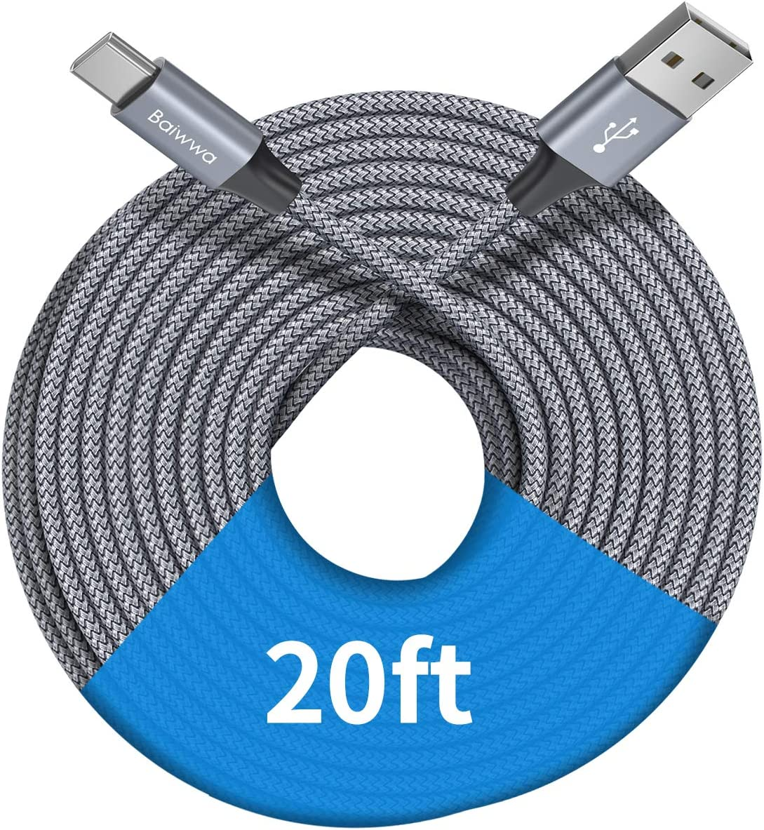 [ 20ft/6m ] Extra Long USB C Cable, Baiwwa Premium Nylon Braided USB A to Type C Cable Charger Cord Compatible with Samsung Galaxy Note Tab, Moto, LG, Sony, Google and More USB C Smartphone & Tablet