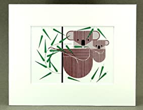 Charley Harper Print Koala Bear, Mom and Baby, White Matted, Large