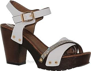 Women's Ankle Strap Faux Wood Platform Chunky Heel Sandal