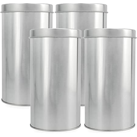 Solstice Double Seal Tea Canisters (4-Pack, Large); Round Metal Containers with Interior Seal Lid