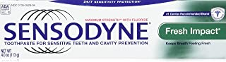 Sensodyne Fresh Impact Toothpaste for Sensitive Teeth and Cavity Protection with Fluoride, Maximum Strength, 4 oz Tubes (Pack of 2)