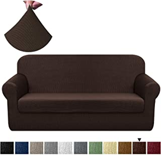 Chelzen Stretch Sofa Covers Living Room 2-Piece Couch Covers Striped Furniture Protectors Spandex Fabric Dog Sofa Slipcovers (Sofa, Dark Coffee)