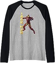 Marvel Iron Man Vertical Logo Action Pose Portrait  Raglan Baseball Tee