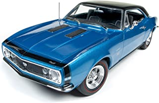 1967 Chevrolet Camaro SS 427 Marina Blue with Black Hardtop 50th Anniversary Limited Edition to 1002 pieces Worldwide 1/18 Diecast Model Car by Autoworld AMM1118