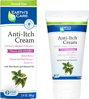 Earth's Care Anti-Itch Cream 2.4 OZ. / No Parabens, Steroids, Colors or Fragrances / Allergy-Tested
