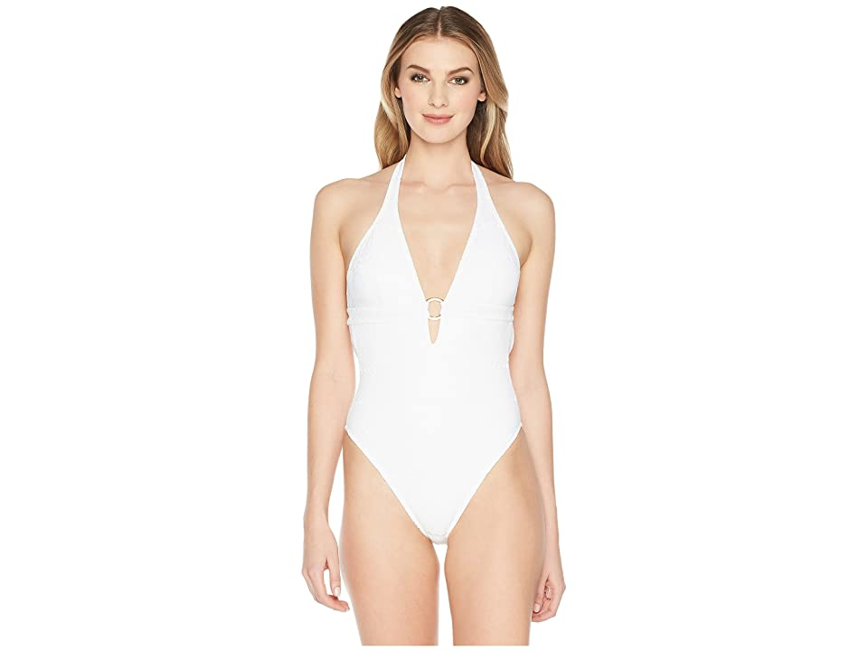 Letarte Halter with Ring One-Piece (White) Women